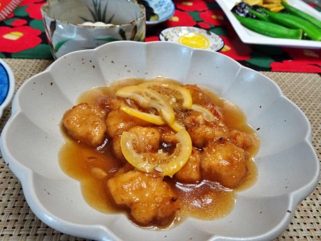 鶏から揚げのレモン煮