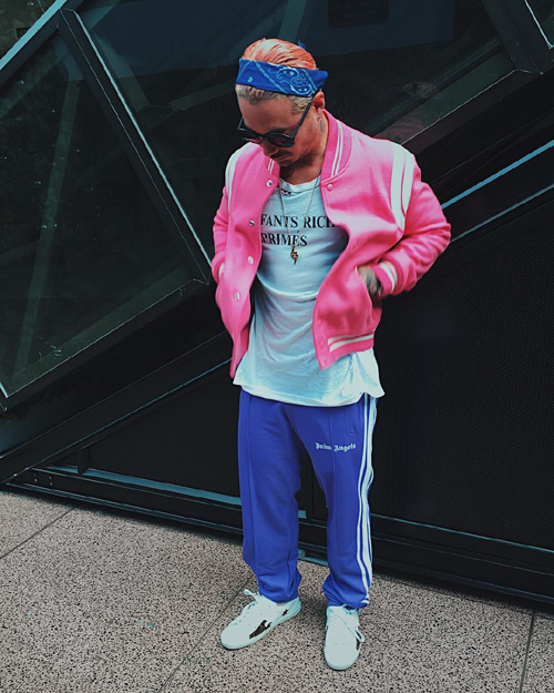 JBalvin-Saint-Laurent-jacket-sneakers-Enfant-Riches-Deprimes-tee-Palm-Angels-pants.jpg