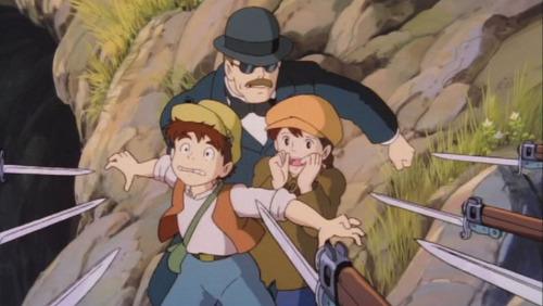 洞窟から出た時に軍に見つかり捕まるパズーとシータ