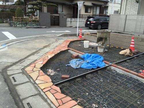 熊谷市外構N様邸セルバストーンピンク