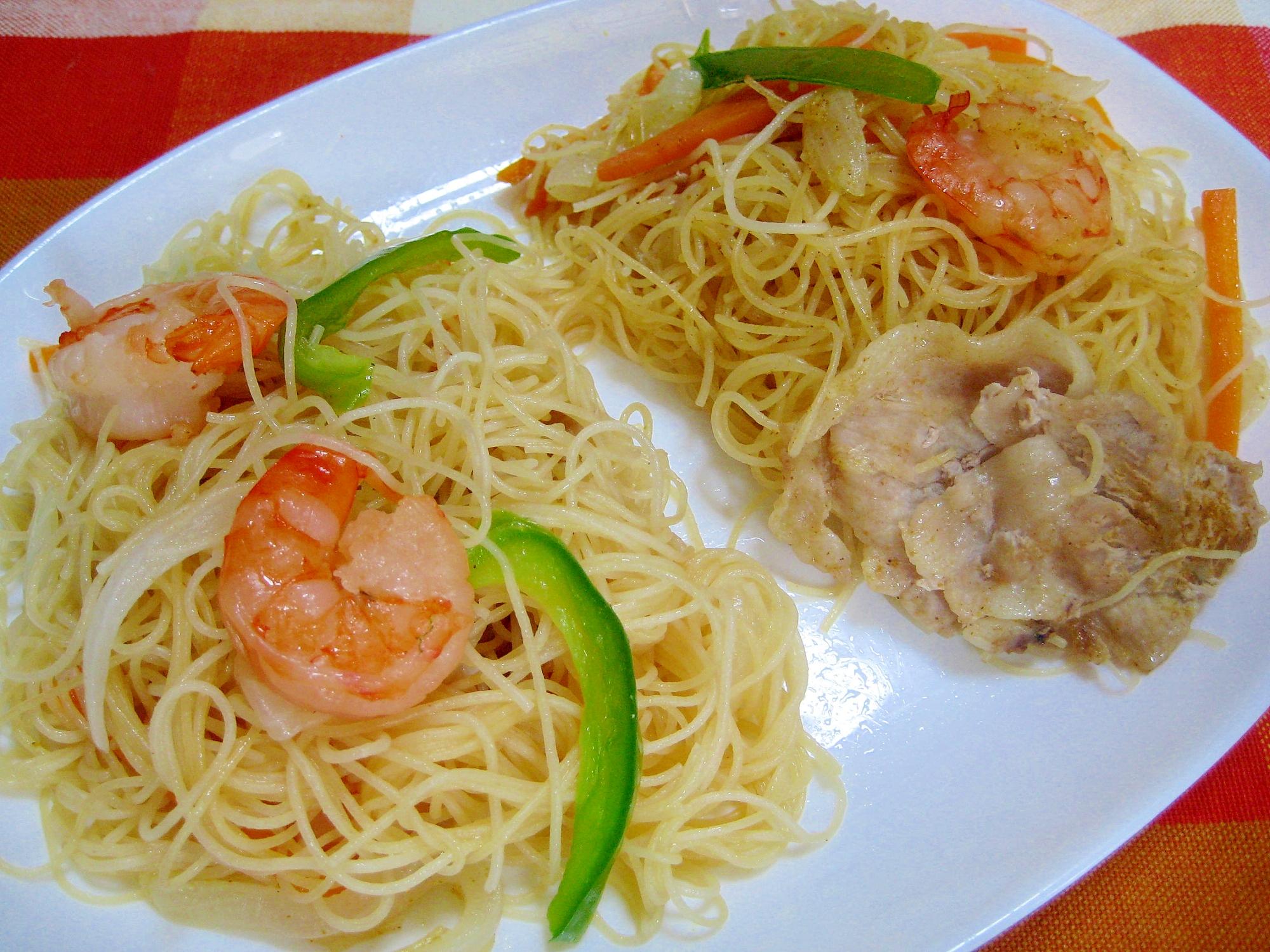 即席麺de簡単!焼きビーフン&カレービーフン