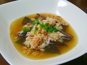 レンジで簡単♪茄子と蟹の煮浸し