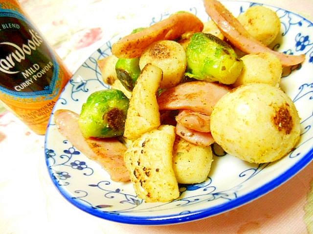 芽キャベツと里芋&イカ&ウィンナーのマヨカレー