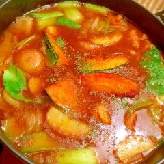 素揚げ野菜と鶏手羽トロ肉の緑野菜カレー鍋