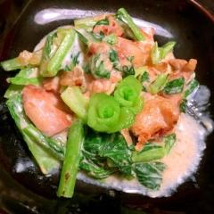 鶏もも肉と小松菜の中華風豆乳炒め