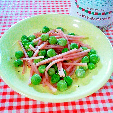 えんどう豆とハムのササッと炒め