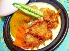 豚カレー南蛮揚げと蒸し野菜のホワイトソース添え