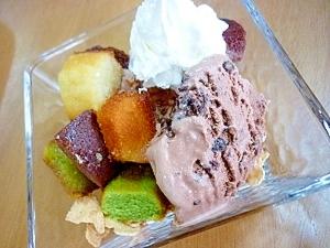 フィナンシェ&チョコチップアイスのパフェ**