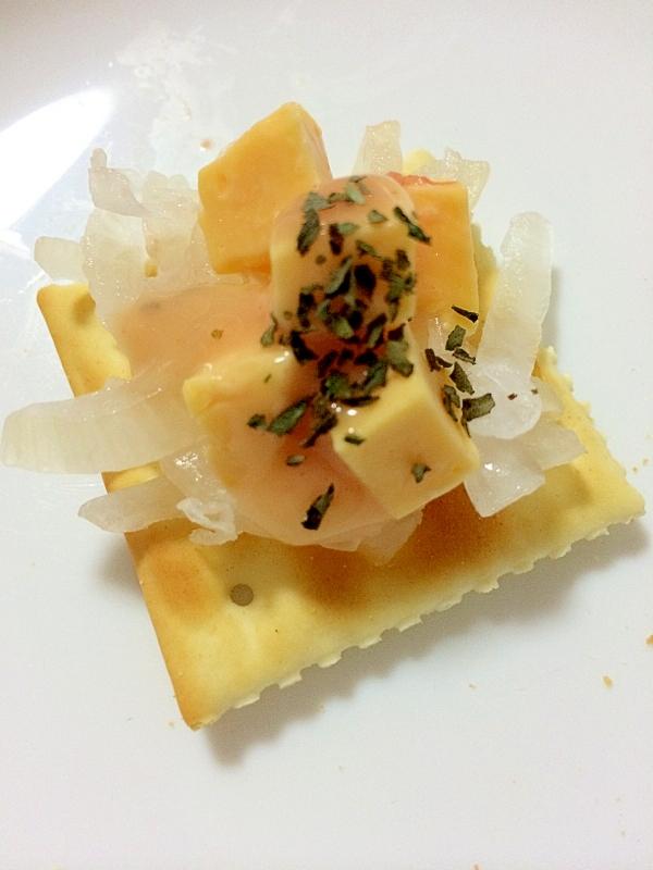 オニオンとチェダーチーズのサウザンバジル カナッペ