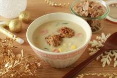 オールブランチーズミートボールの豆乳スープ