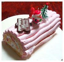 ピンク色の可愛いロールケーキ。クリスマスにどうぞ♪