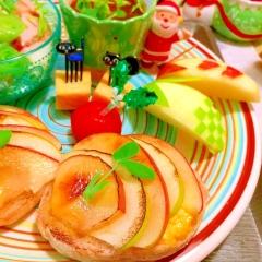 ふたつの林檎のブリュレプディング風マフィントースト