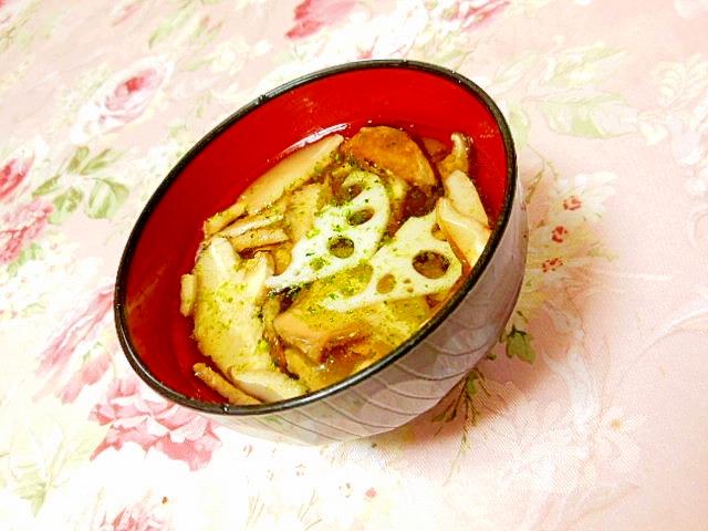 ツナ缶の汁de蓮根&どんこのめんつゆ青海苔スープ
