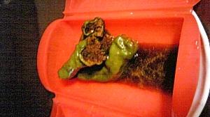 ルクエでシシトウの肉詰め ノンオイルこってり味噌!