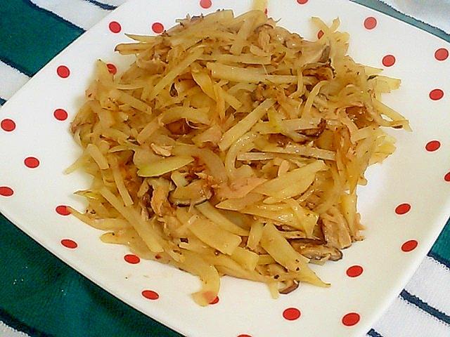 じゃがいも、玉ねぎ、椎茸のツナ炒め レシピ・作り方 by かっぺ4217|楽天レシピ