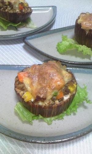 米茄子のミックスベジタブル&チーズのせ焼き♪