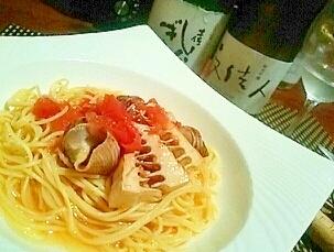 旬を味わう、筍とつぶ貝のスープパスタ