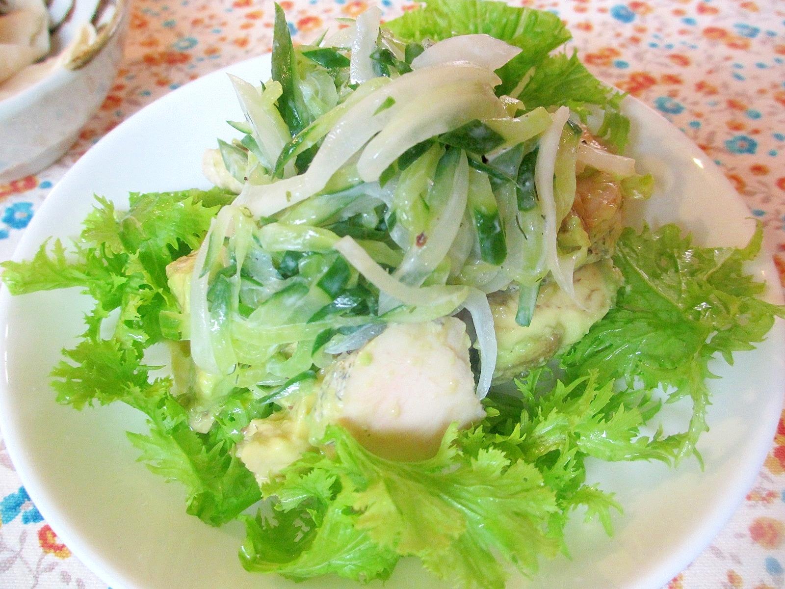 千切りキュウリドレッシングのアボカド鶏ハムサラダ