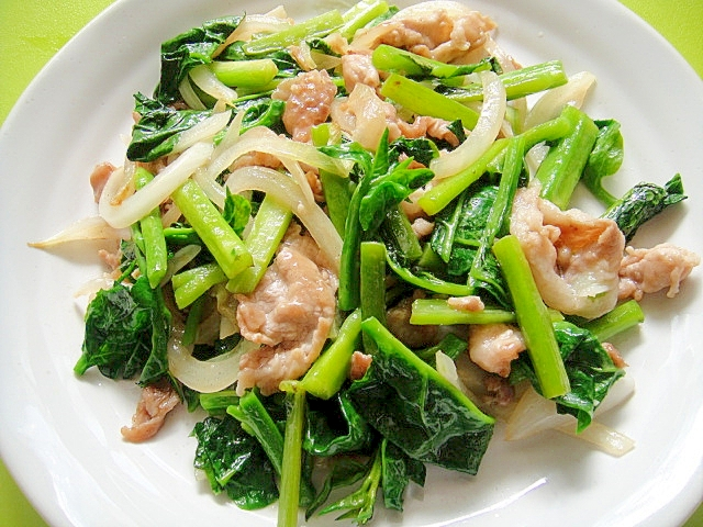 つるむらさきと豚肉のガーリック風味炒め レシピ・作り方 by mint74|楽天レシピ