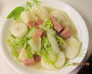 長芋、スパム、白菜、ネギの煮もの