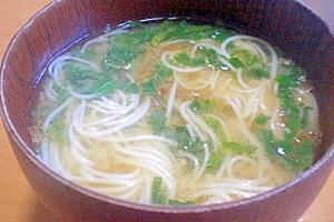 今日のお汁! 「モロヘイヤ入りにゅう麺」   ♪♪