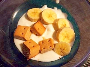 栄養満点♪ カロリーメイトとバナナでヨーグルト  作り方 1  栄養満点♪ カロリーメイトとバナ