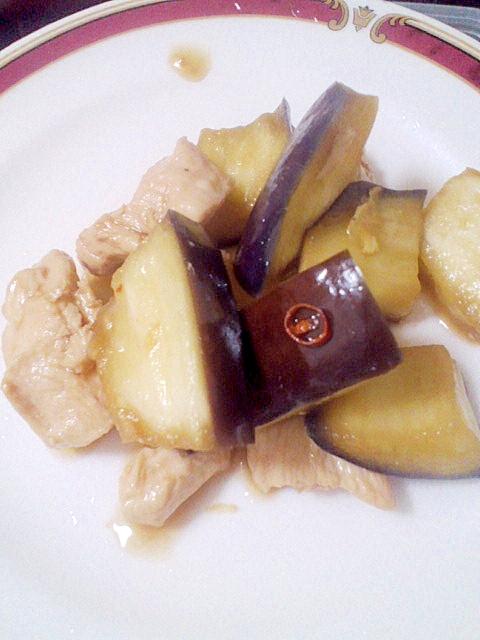 炒めて簡単♪豚かたまり肉&なすのピリ辛炒め
