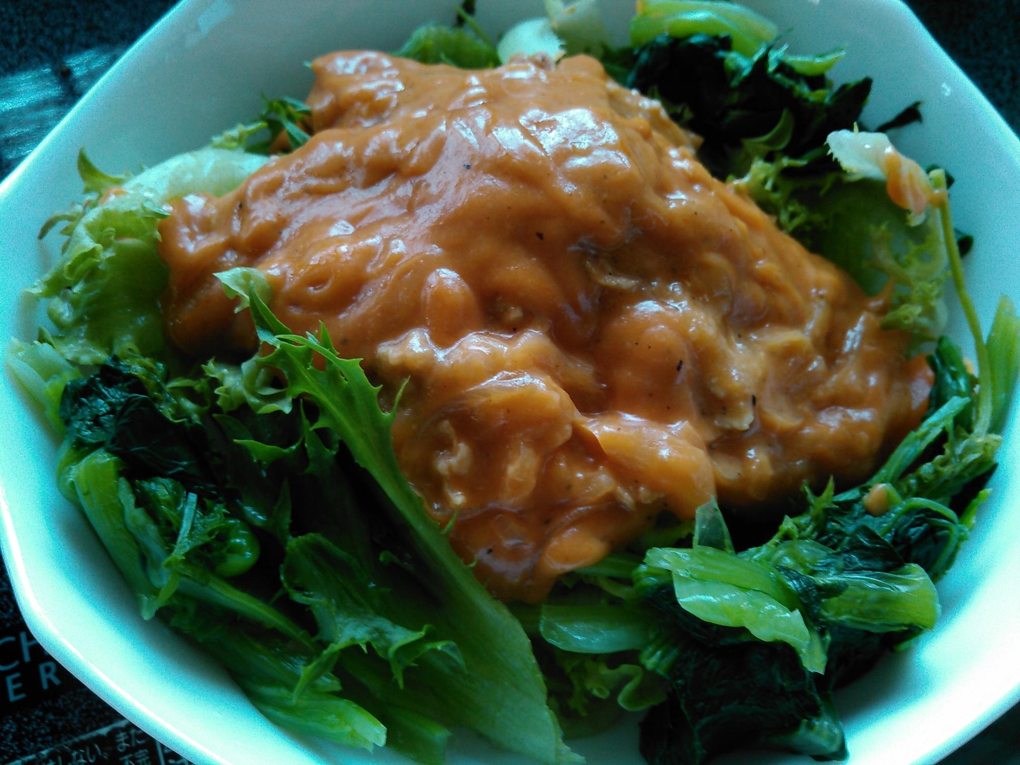 リーフレタスと小松菜のささみ入トマトクリームソース