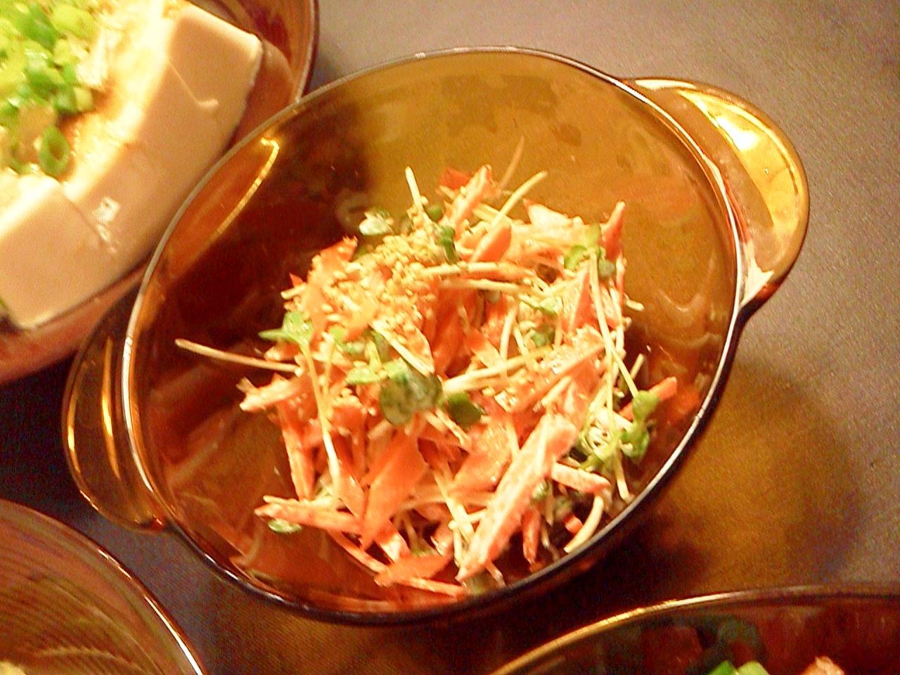 貝割れ大根と人参の生姜醤油マヨネーズ