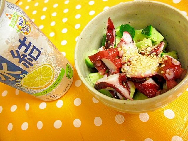 たこときゅうりの塩ごま油あえ レシピ・作り方 by ミスチバス8823|楽天レシピ