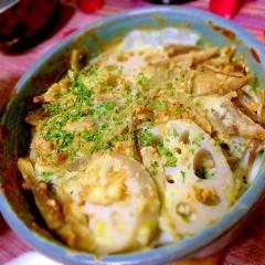 サクサク根菜のおつまみホタテマヨ焼き