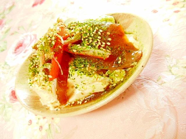 おぼろ豆腐deハマチ漬けと青海苔カニかまの冷奴
