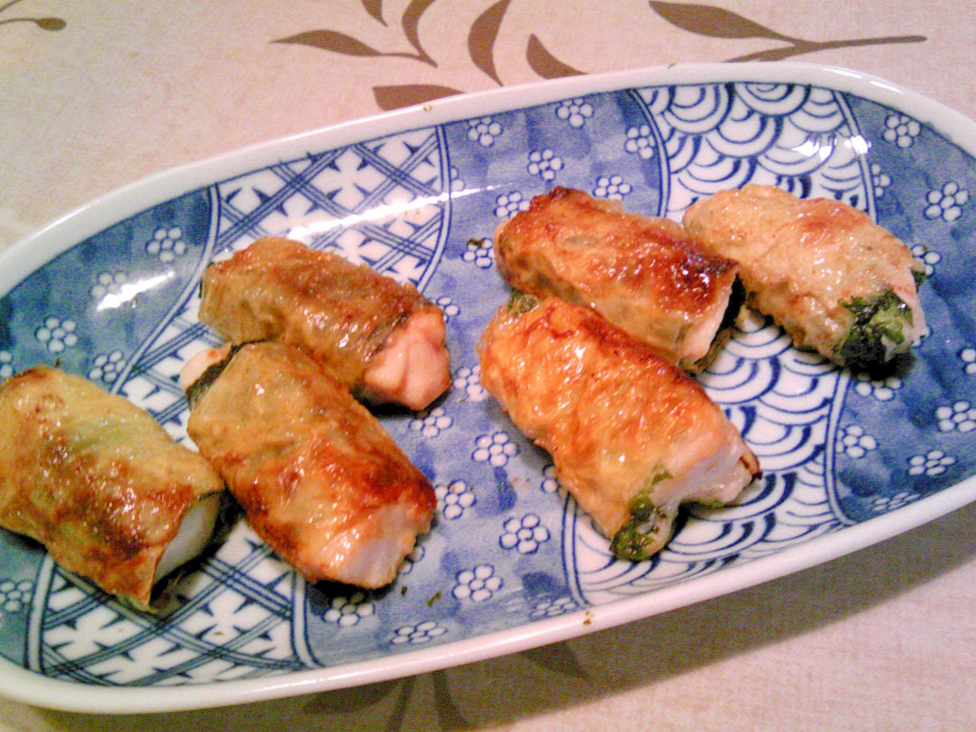 鶏むね肉の大葉・湯葉、海苔・湯葉巻揚げ焼き