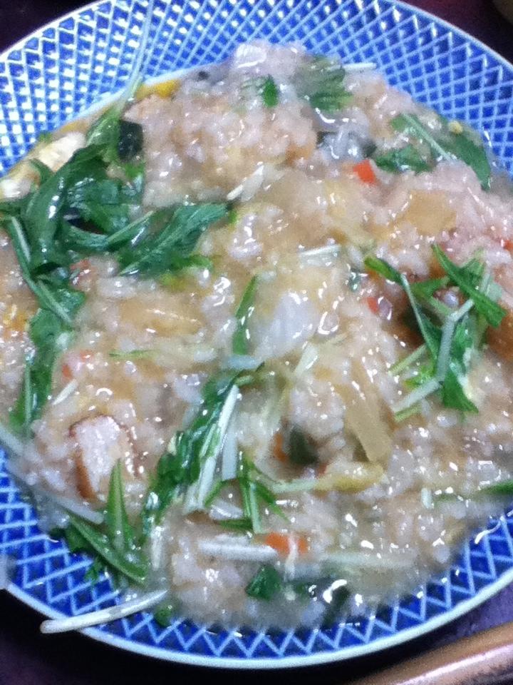 さつま揚げと水菜の味噌雑炊