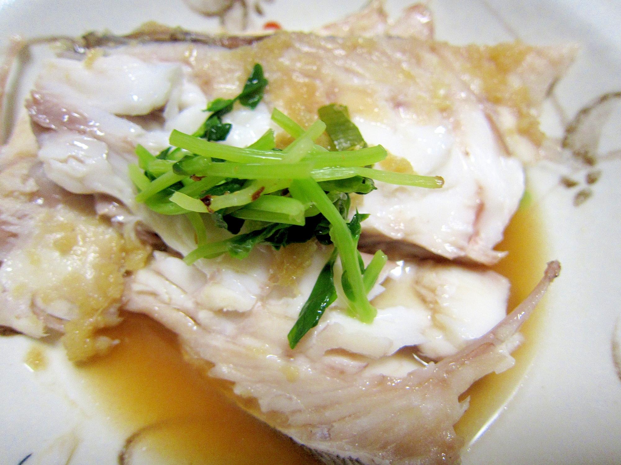 水菜と生姜鯛スチーム味醂醤油