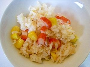 雑穀ごはんで カニカマ&干しエビの混ぜごはん