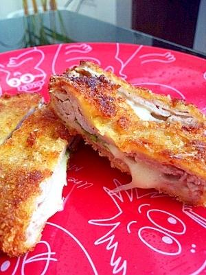 サクッ☆豚薄切り肉のチーズinカツ