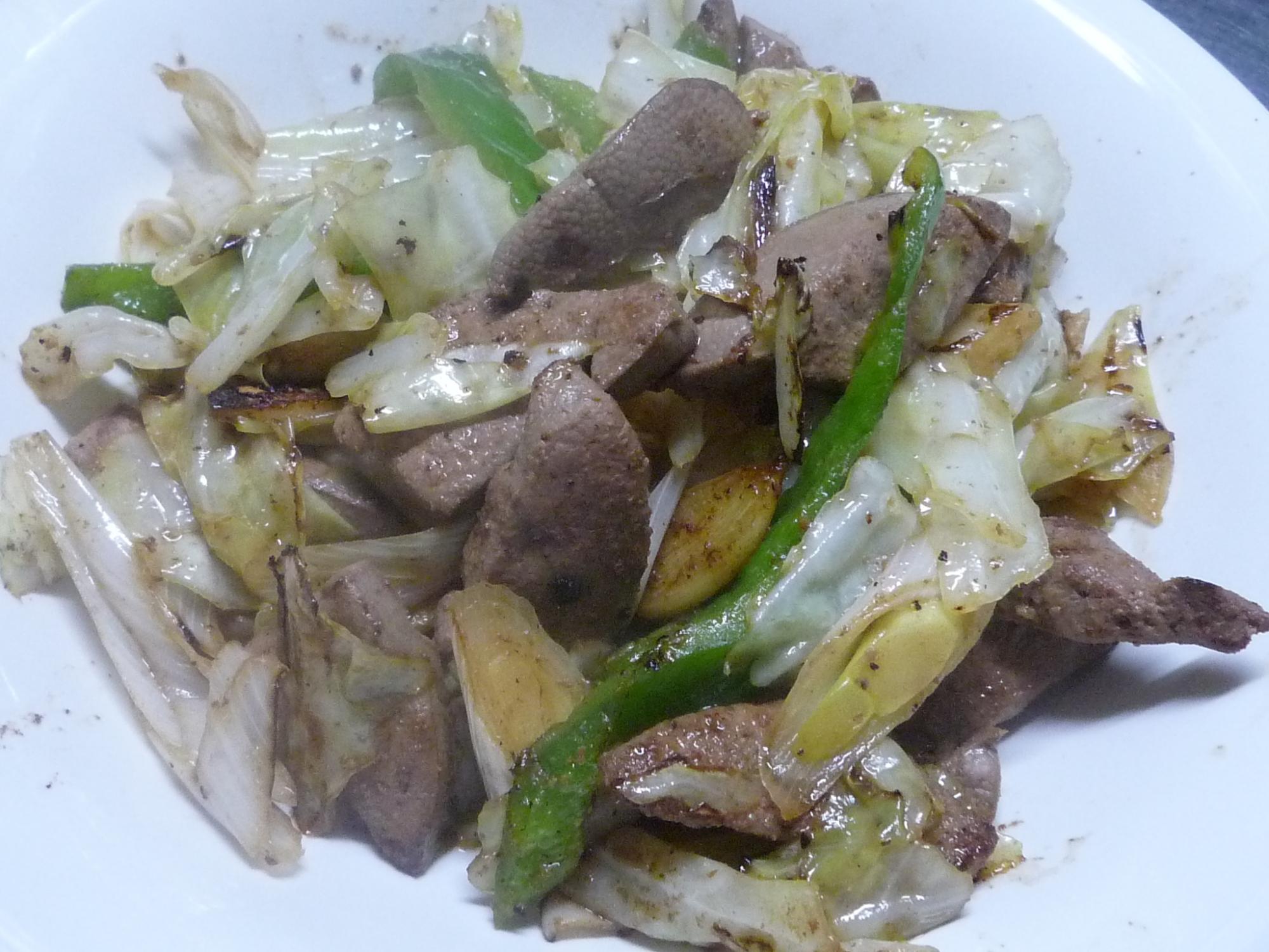 レバー塩漬け レバ野菜炒め