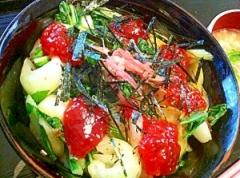 筋子と杓子菜の旨味じゅわじゅわ酢飯丼