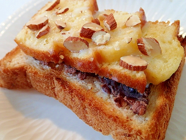 餡子とパウンドケーキとアーモンドのトースト