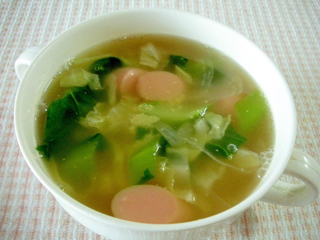 お夜食に!小松菜と魚肉ソーセージのコンソメスープ♪