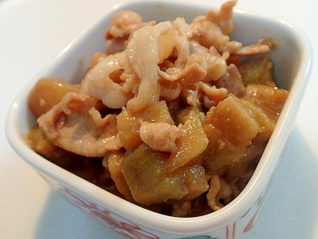 貝だしで 豚肉と米茄子の甘味噌炒め