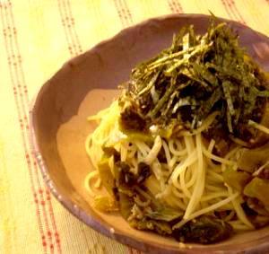 高菜で美味しく!しらす高菜のスパゲティ