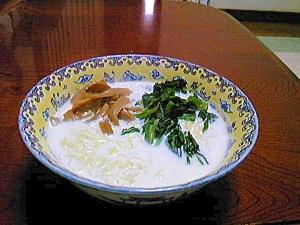 ホウレン草とメンマのミルクチキンラーメン