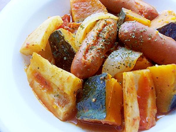 カボチャ&トマトでラタトゥユな主菜♪(レンコン他)