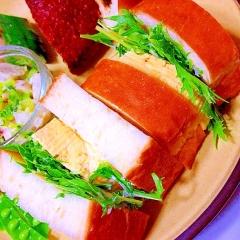 だし巻き卵と水菜のはんなり和風サンド