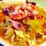 蕎麦湯で作る塩麹海鮮あんかけ