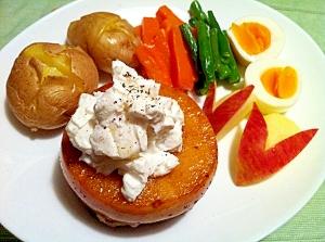 白雪姫のりんごとチーズのハンバーグ