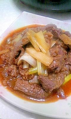 牛肉とネギの焼肉タレ炒め