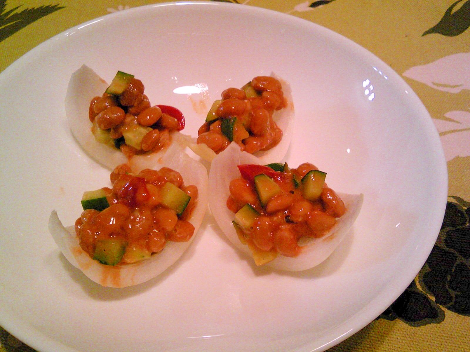 新玉葱のラタトゥイユ・きゅうり・納豆のせ